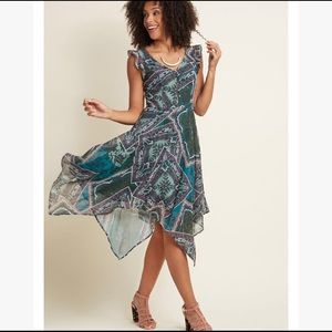 ModCloth paisley handkerchief midi dress